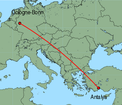 Map of route from Cologne-Bonn to Antalya