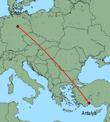 Map of route from Erfurt to Antalya