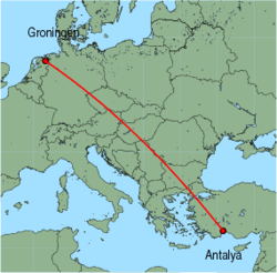 Map of route from Groningen to Antalya