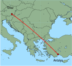 Map of route from Graz to Antalya