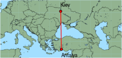 Map of route from Kiev (Zhuliani) to Antalya