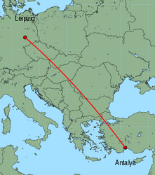 Map of route from Leipzig to Antalya