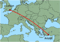 Map of route from Antalya to London&nbsp;(Gatwick)