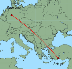 Map of route from Paderborn to Antalya
