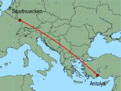 Map of route from Saarbruecken to Antalya