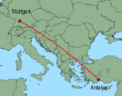 Map of route from Stuttgart to Antalya