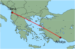 Map of route from Tirana to Antalya