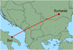 Map of route from Bucharest(Baneasa) to Bari