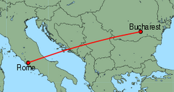 Map of route from Bucharest(Baneasa) to Rome(Ciampino)