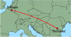 Map of route from Bucharest (Baneasa) to Brussels (Charleroi)