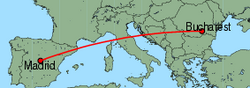 Map of route from Madrid to Bucharest(Baneasa)