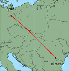 Map of route from Berlin(Tegel) to Bucharest(Baneasa)