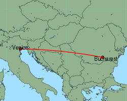 Map of route from Bucharest (Baneasa) to Venice (Marco Polo)