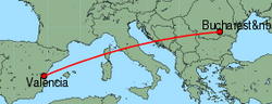 Map of route from Valencia to Bucharest (Baneasa)