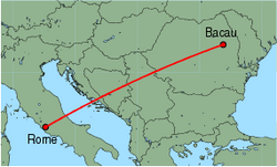 Map of route from Bacau to Rome(Ciampino)