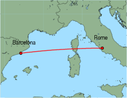 Map of route from Barcelona to Rome(Ciampino)