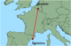 Map of route from Barcelona to Brussels (Charleroi)