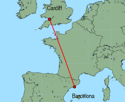 Map of route from Cardiff to Barcelona