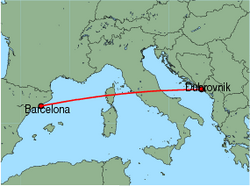 Map of route from Barcelona to Dubrovnik