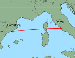 Map of route from Rome (Fiumicino) to Barcelona