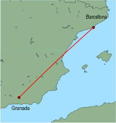 Map of route from Granada to Barcelona
