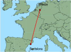 Map of route from Barcelona to Weeze