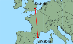 Map of route from Barcelona to Southend