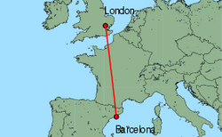 Map of route from Barcelona to London (Stansted)
