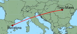 Map of route from Barcelona to Tirgu Mures