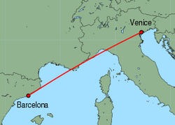 Map of route from Barcelona to Venice (Marco Polo)