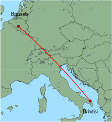 Map of route from Brindisi to Brussels (Charleroi)
