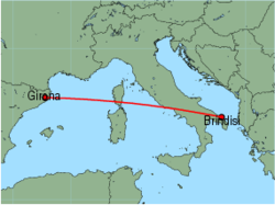 Map of route from Brindisi to Girona