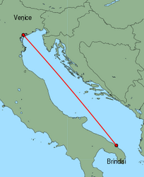 Map of route from Brindisi to Venice (Marco Polo)