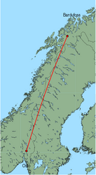 Map of route from Oslo (International) to Bardufoss