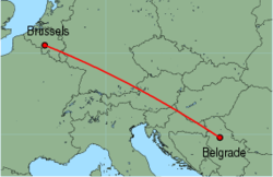 Map of route from Brussels (Charleroi) to Belgrade