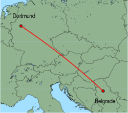 Map of route from Dortmund to Belgrade