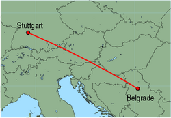 Map of route from Stuttgart to Belgrade