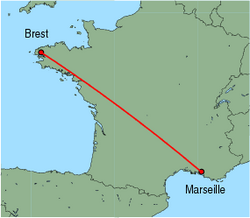 Map of route from Brest to Marseille