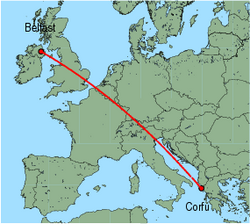 Map of route from Belfast(International) to Corfu