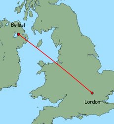 Map of route from London (Luton) to Belfast (International)