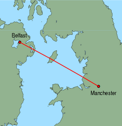 Map of route from Manchester to Belfast (International)