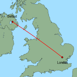 Map of route from Belfast&nbsp;(International) to London&nbsp;(Stansted)
