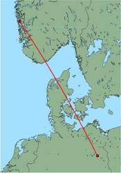Map of route from Bergen to Berlin(Schoenefeld)