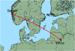 Map of route from Bergen to Vilnius