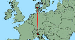 Map of route from Milan (Orio al Serio) to Billund