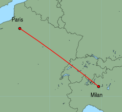 Map of route from Milan(OrioalSerio) to Paris(Beauvais)