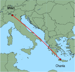 Map of route from Chania to Milan (Orio al Serio)