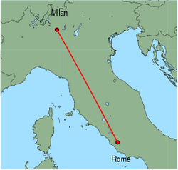 Map of route from Milan(OrioalSerio) to Rome(Ciampino)