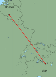 Map of route from Milan(OrioalSerio) to Brussels(Charleroi)