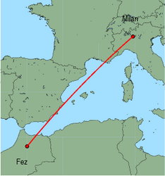 Map of route from Milan (Orio al Serio) to Fez